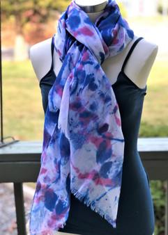 Hand Painted Cotton/Viscose Fringe Scarf/Wrap/Shawl - Pink/Blue/Purple
