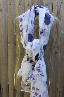 Hand Painted Cotton/Viscose Scarf/Wrap/Shawl - Grape on Smoke