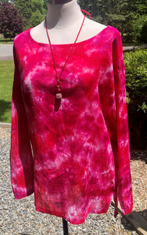 100% Cotton Freedom Top/Tunic  Hand Dyed - Cranberry