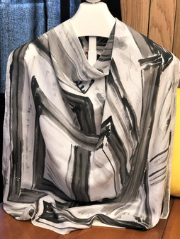 SOLD Charmeuse Silk Scarf  Hand Painted - Black & White 3D