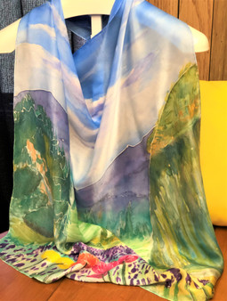 SOLD Charmeuse Silk Scarf  Hand Painted - New England