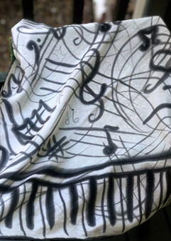 SOLD - Hand Painted Silk Scarf - Music
