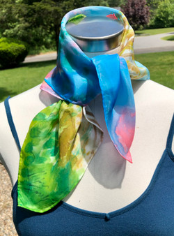Hand Painted Silk Scarf - Pink Sunset