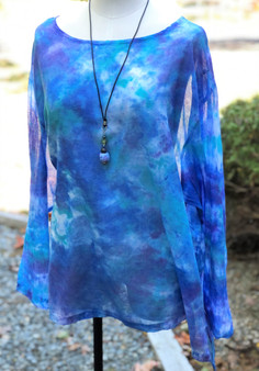 100% Cotton Freedom Top/Tunic  Hand Painted - Blue Peri