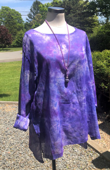 100% Cotton Freedom Top/Tunic  Hand Painted - Amethyst