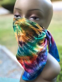 Hand Dyed Silk Scarf -  Spiral - Multi