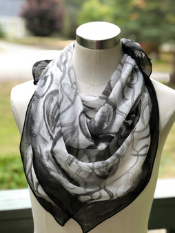 100% Silk Chiffon Square Scarf  Hand Painted - Black Orchids