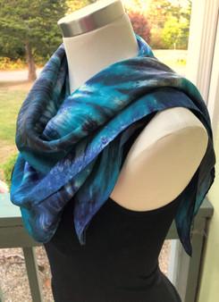Hand Dyed Silk Scarf -  Spiral - Teal