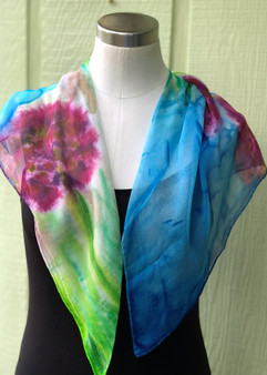 100% Silk Chiffon Square Scarf  Hand Painted - Blossom Field