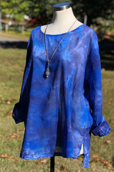 100% Cotton Freedom Top/Tunic  Hand Painted - Lapis