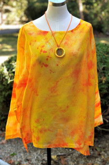 100% Cotton Freedom Top/Tunic  Hand Painted - Sunflower