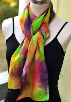 Hand Painted Silk Scarf - Spicy