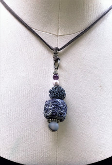 Ball Recycled Fiber Necklace - Deep Plum & Ash
