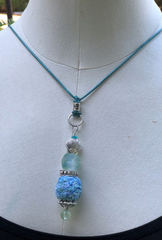 Ball Recycled Fiber Necklace - Seaweed & Sea-glass