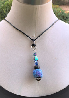 Ball Recycled Fiber Necklace - Iridescent Sky