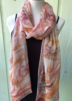 Silk Chiffon Hand Painted Scarf - Large Oblong