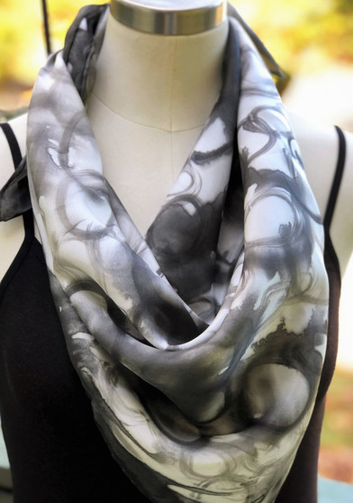 100% Silk Square Scarf  Hand Painted - Black & White