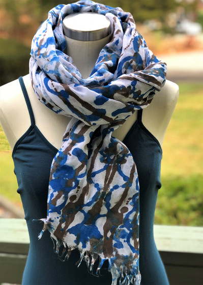 SOLD - Hand Painted Viscose Fringe Scarf/Wrap/Shawl - Brown & Bluish Teal