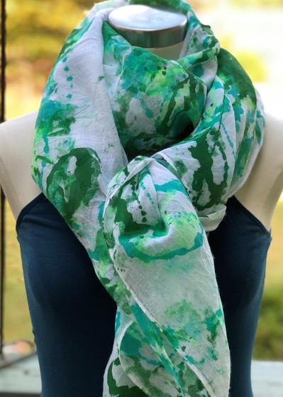 Hand Painted Cotton/Viscose Scarf/Wrap/Shawl - Seafoam/Green