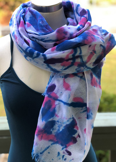 Hand Painted Viscose Fringe Scarf/Wrap/Shawl - Pink/Blue/Purple