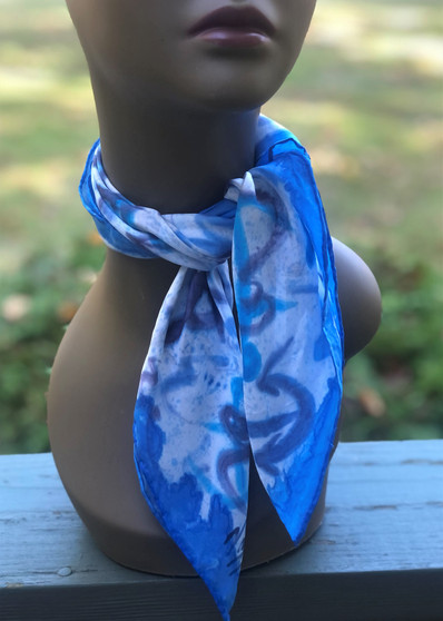 Hand Painted Silk Scarf - Anchors Aweigh