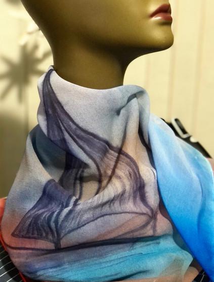100% Silk Chiffon Square Scarf  Hand Painted - Lone Sail