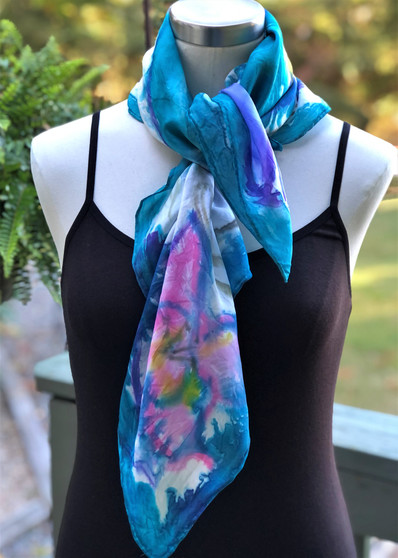 100% Silk Square Scarf  Hand Painted - Orchids