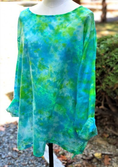 100% Cotton Freedom Top/Tunic  Hand Painted - Turquoise/Lime