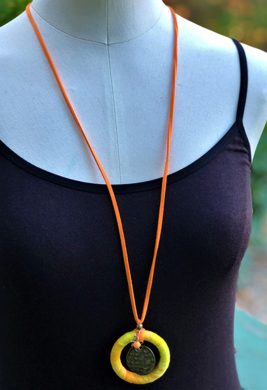 Hand Painted Fiber Circle Necklace - Sunflower