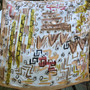 100% Silk Square Scarf  Hand Painted - Tribal