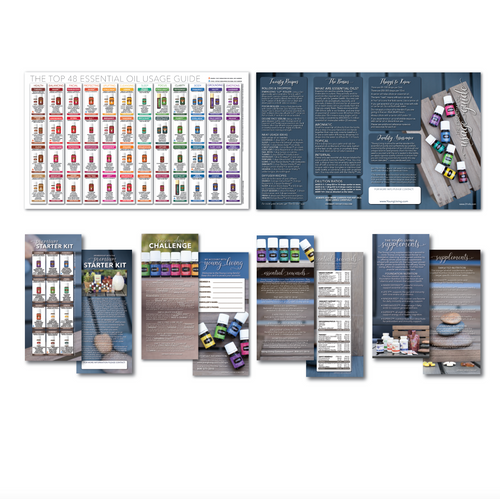 Wooden Design Young Living Essential Oils Usage Guide Brochure with explainer cards