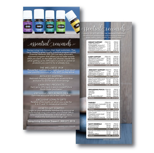 Wooden Design Young Living Essential Oil Essential Rewards ER Cards