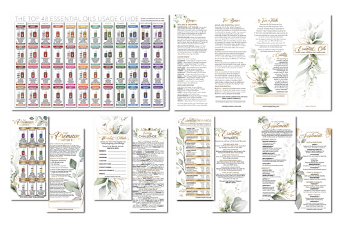 Plant Design Young Living Essential Oils Usage Guide Brochure with explainer cards (Set of 125 total brochures)
