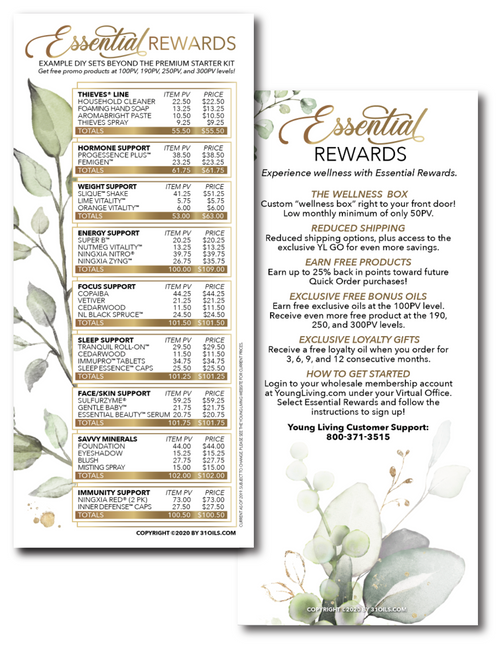Plant Design Young Living Essential Oil Essential Rewards ER Cards