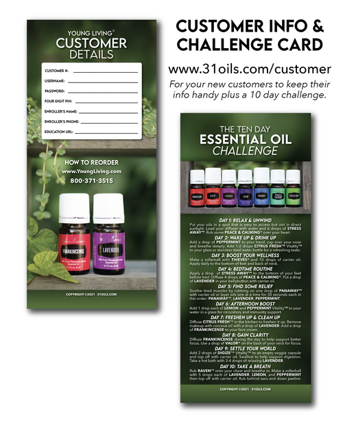 New Customer Info Card plus 10 Day Challenge (20 Pack)