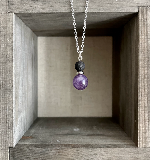 Amethyst with Black Lava Necklace
