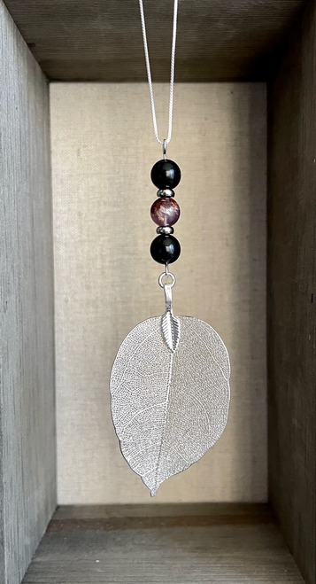 Silver Dipped Leaf with EMF Shungite and Super 7 on 26 inch 925 Sterling SilverNecklace