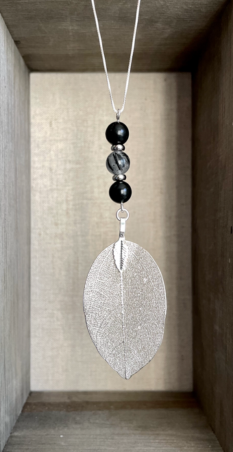 Silver Dipped Leaf with EMF Shungite and Tourmalinated Quartz on 26 inch 925 Sterling SilverNecklace