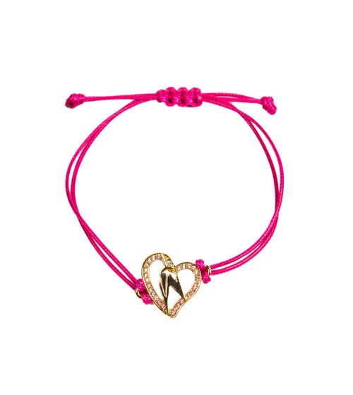 One World Observatory Friendship String Bracelet Pink with crystals from Swarovski