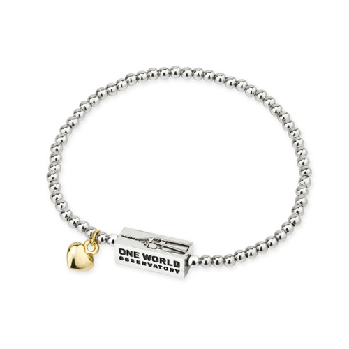 One World Observatory Rhodium & GP New York Bead Bracelet
