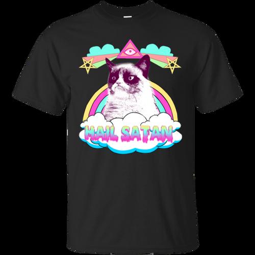 Trending Hail satan funny cat T-shirts