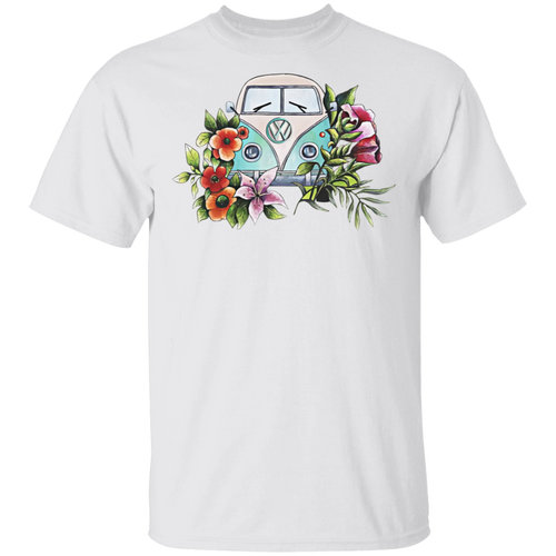 Bus Flower - Volkswagen Beetle Bus T-shirt