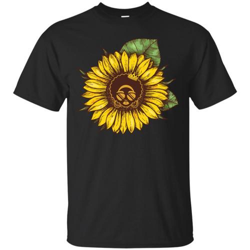 Funny Sun Flower T-shirt For Black Queens