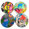 Corneille Cat Abstract Paintings Glass Drink Coasters with Metal Holder, Set of 4
