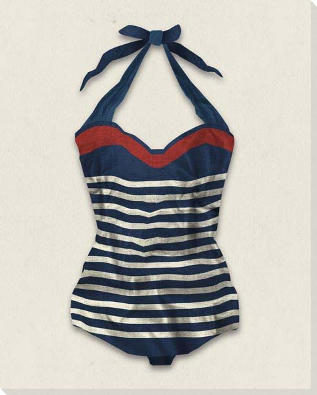 44e058e497311 Vintage Bathing Suit Striped Wrapped Canvas Giclee Print Wall Art - Wall  Decor - Artwork