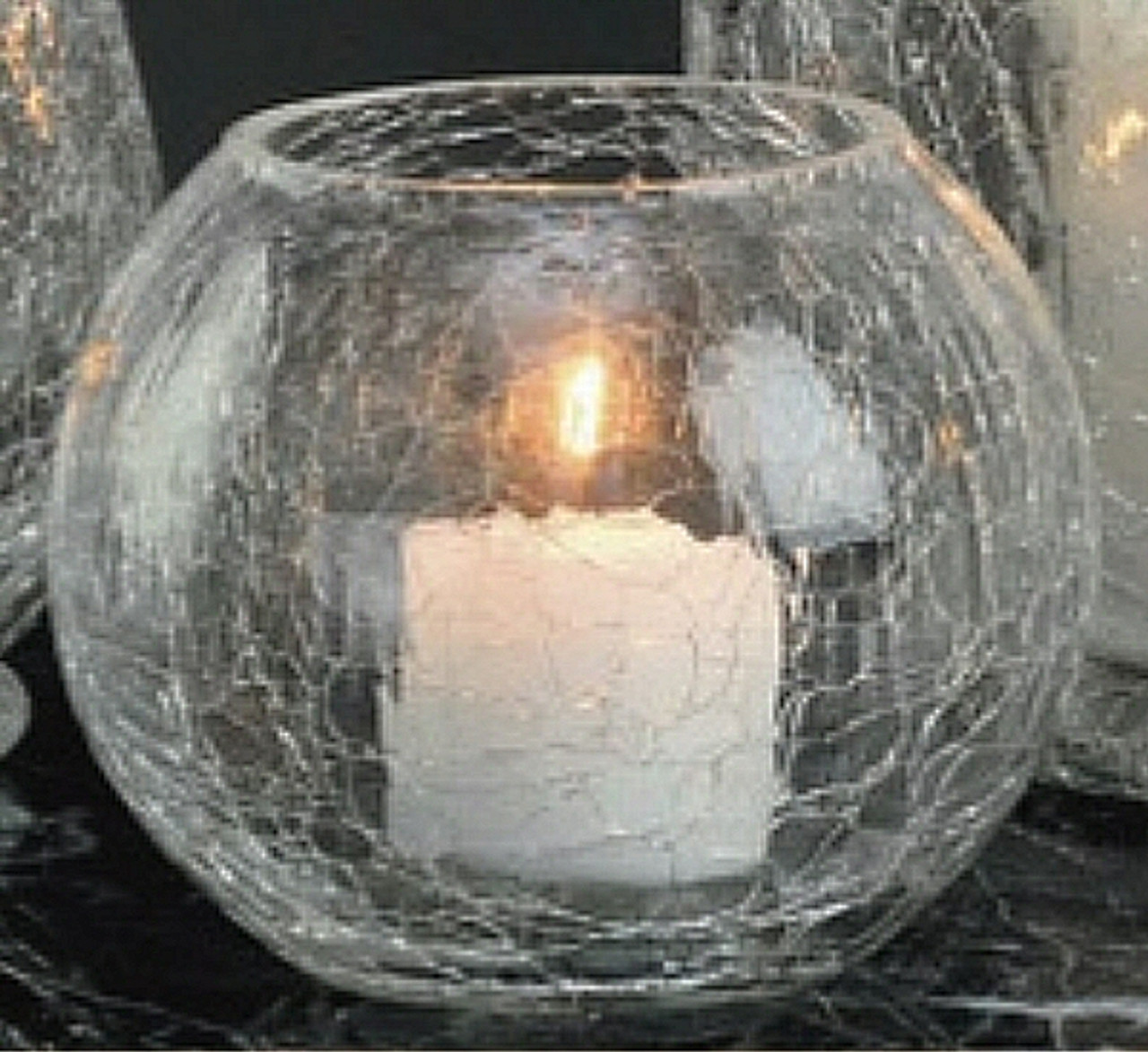 Round Crackle Glass Votive Candle Holders Set Of 6 Candle Accessories
