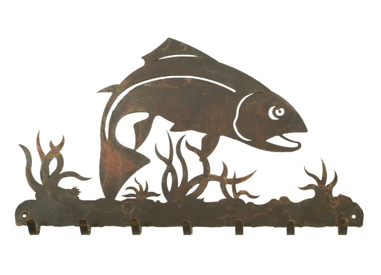 Trout Silhouette Ironwood Christmas Ornament