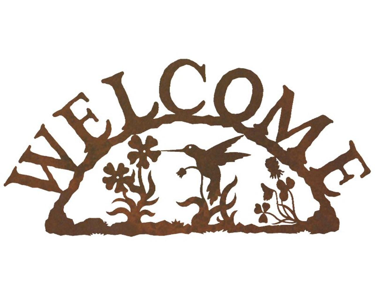 Hummingbird Metal Welcome Sign