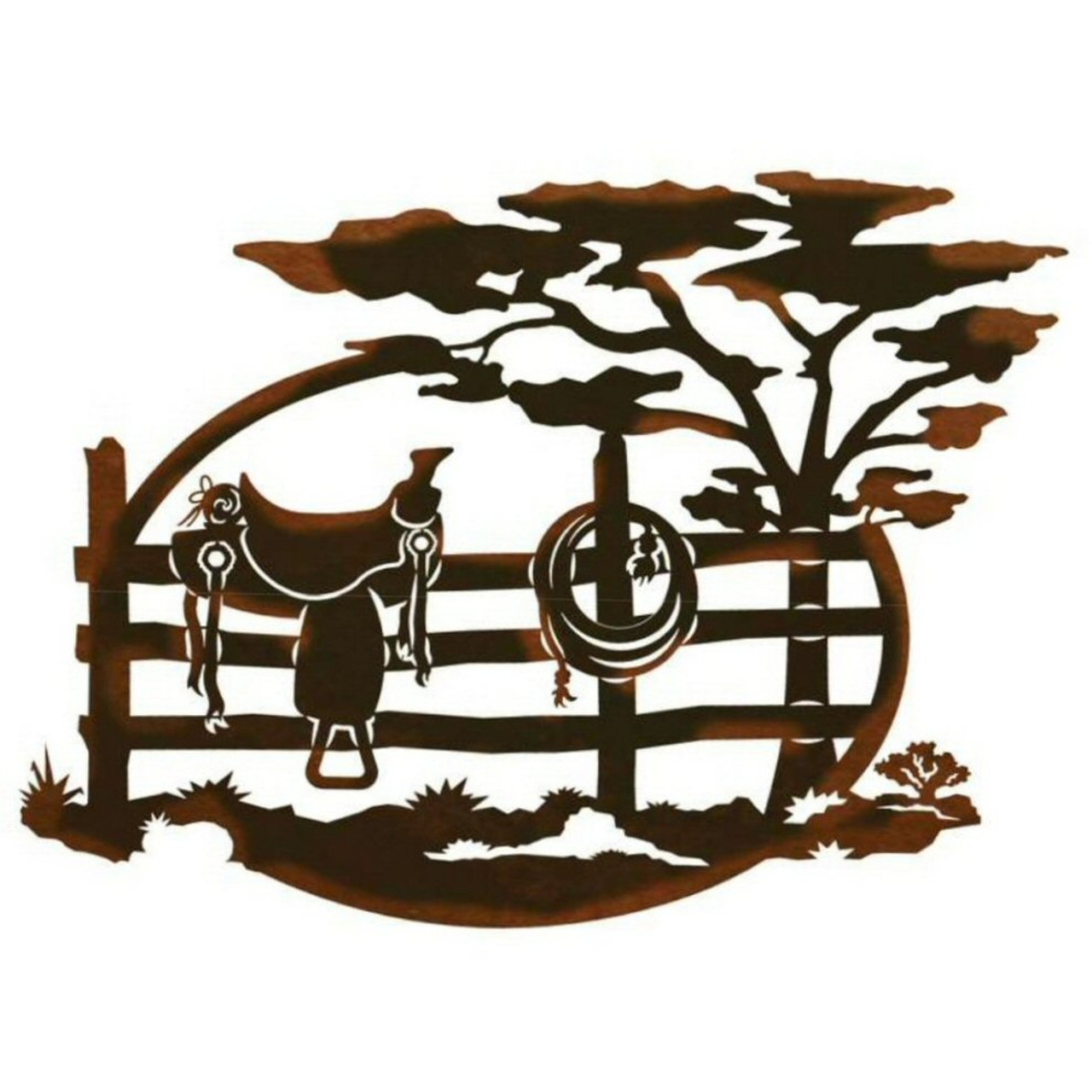"""26"""" Saddle Sitting on a Fence Scenic Metal Wall Art ..."""