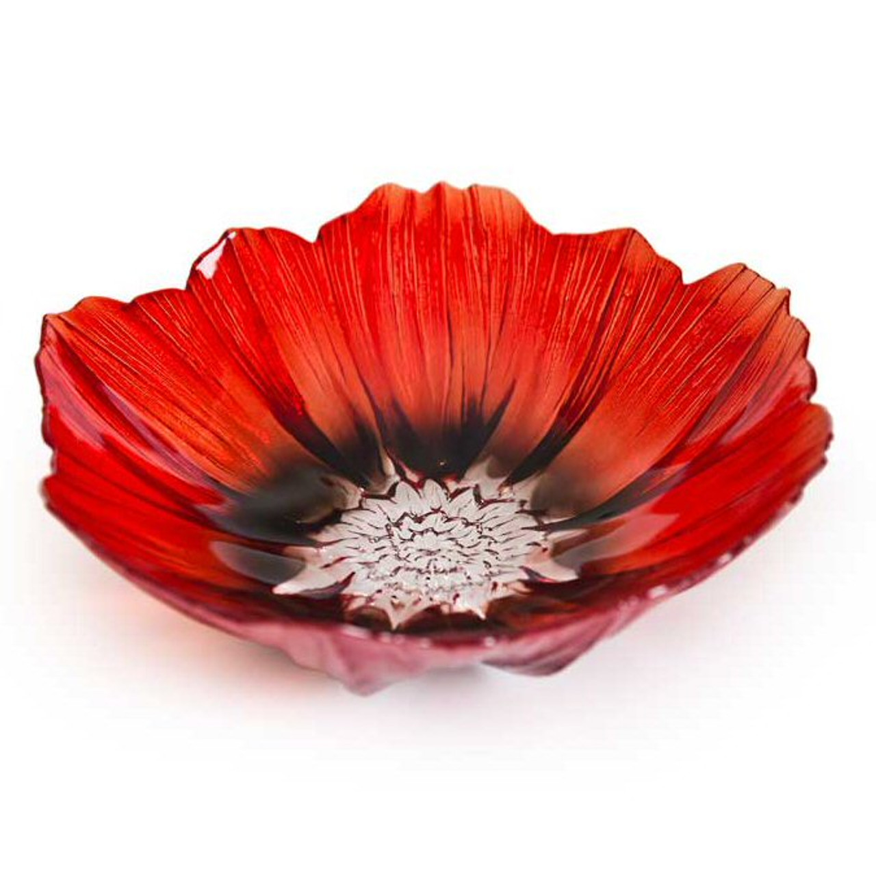 Large Red And Black Poppy Flower Crystal Bowl By Mats Jonasson Art